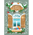 Christmas and New Year card with wooden frosty win vector image vector image