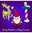 Christmas card Santa with reindeer and road sign vector image
