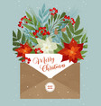 christmas letter with flower and plants vector image vector image