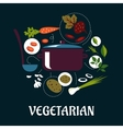 Cooking vegetarian dish flat infographic vector image