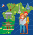 couple travelers on background korea map vector image vector image