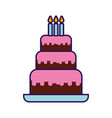 cute birthday cake cartoon vector image vector image