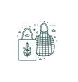 eco friendly grocery bags line art icon vector image