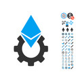 ethereum tools gear icon with bonus pictograms vector image vector image