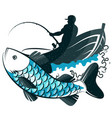 fisherman in a boat with fishing rod and fish vector image vector image