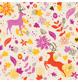 Floral background wih deer vector image