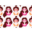 Girls wearing surrealistic lip eyeglasses Seamless vector image