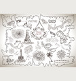 graphic set with treasure hunt concept vector image vector image