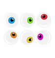 halloween eyeball symbol set colorful cartoon vector image