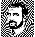 hand drawn man with beard and vector image