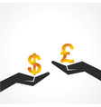 Hand hold dollar and pound symbol to compare vector image vector image
