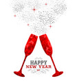 happy new year red party drink toast in low poly vector image vector image