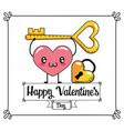 heart with padlock and key to valentines day vector image vector image