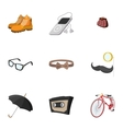 Hipsters icons set flat style vector image