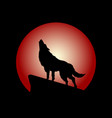 howling wolf with red moon vector image vector image
