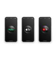 hulu apple tv youtube tv logo on iphone screen set