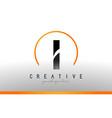 i letter logo design with black orange color cool vector image vector image