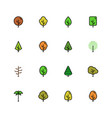 icon set trees in colorful outline style vector image vector image