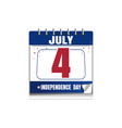 independence day calendar 4 july vector image vector image