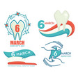 international dentist day celebration 6 march vector image