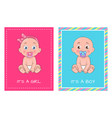 it girl and boy set posters dedicated to baby vector image vector image