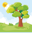 landscape scene with tree and sun character vector image