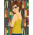 librarian woman in library holding books vector image vector image
