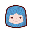 line color girl head with hairstyle and rogue face vector image vector image
