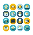 Modern flat circle icons collection with long vector image