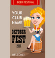 oktoberfest club invitation with sexy redhead vector image vector image