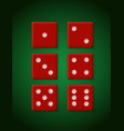 plastic red dices for casino vector image