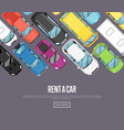 rent a car poster with modern city cars vector image vector image
