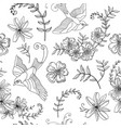 seamless pattern bird and flower vector image vector image