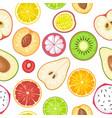 seamless pattern fruits slice apple kiwi lemon vector image