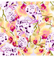 seamless texture branch orchids dots vector image vector image