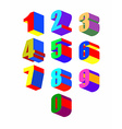 Set Crazy colorfu 3D numbers vector image vector image