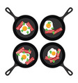 set of pans with fried eggs and bacon vector image