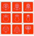 Set of simple flat icons flowers trees and fruits vector image