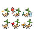 set plant seeds character design vector image