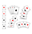 several variants set of four aces deck of cards vector image vector image