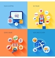 Shopping e-commerce icons set flat vector image vector image