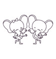 sketch contour caricature with couple of elephants vector image vector image