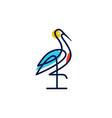 stork logo colorful line art monoline outline vector image vector image