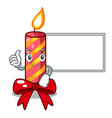 thumbs up with board character christmas vector image vector image