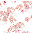 tropical leaves and paradise hibiscus flowers vector image vector image