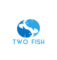 two fish graphic design template vector image