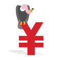 Vulture and Chinese Yen Grief and sign of money in