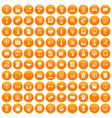 100 website icons set orange vector image vector image