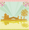 abstract Asian Landscape and two geishas vector image vector image