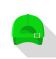 back of green baseball cap icon flat style vector image vector image